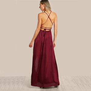 Eva High Slit Plunge Neck Backless Draped Maxi