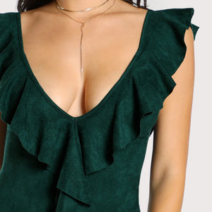 Gigi Flounce Plunge Neck Low Back Bodysuit in Forest Green