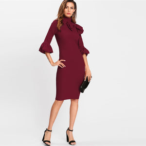 Lucinda Take A Bow Trumpet Sleeves Bodycon Dress