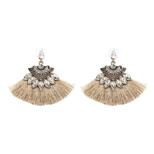 Khloé Gemstone Tassel Earrings