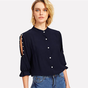 Victoire Mandarin Collar Cold Shoulder Blouse