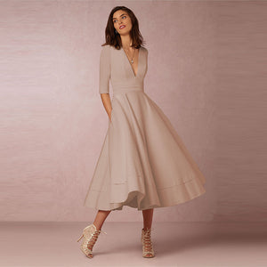 Grace Kelli Vintage V Neck Midi Dress