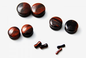 Double Flare Red Tiger's Eye Plugs