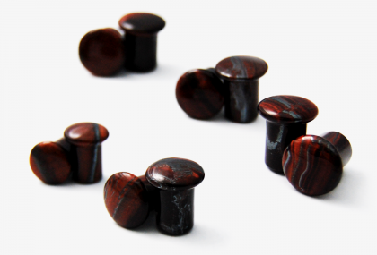 Single Flare Red Tiger's Eye Plugs