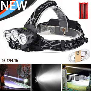 Ultra Bright  50,000 lumen Rechargeable USB Headlamp with 5x XM-L T6 LEDs