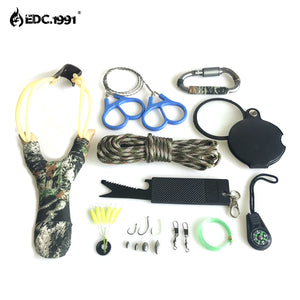 12 in 1 Outdoor Camping Equipment Survival Kit with Paracord, Knife, Carabiner, Compass, Wire Saw, Fishing Gear