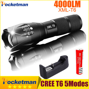 CREE XM-L T6 4000 Lumen Tactical Flashlight (3xAAA or 18650 Rechargeable Battery)