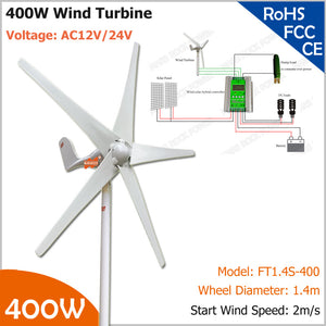 400W Residential Wind Turbine, AC12V or 24V 400rev/min 3- or 5- blade wind generator with optional MPPT wind solar hybrid controller