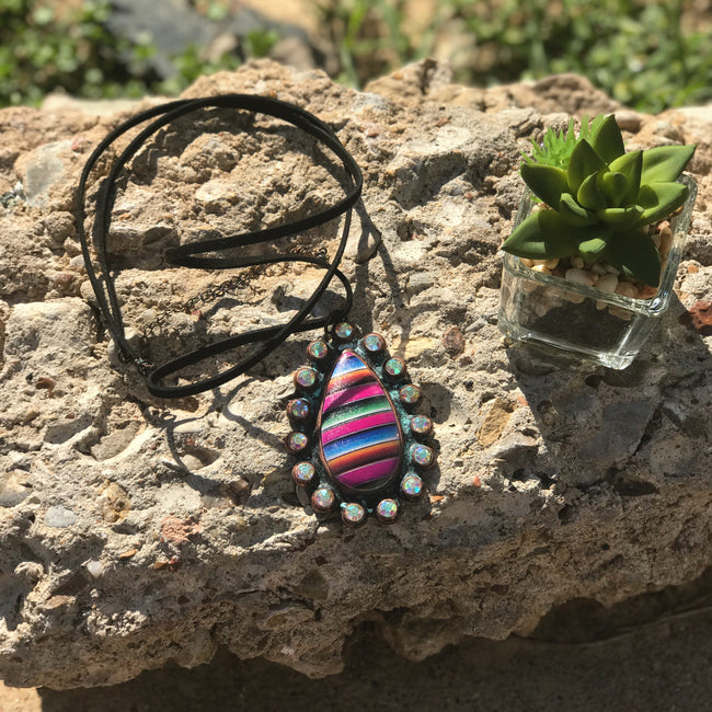 Teardrop Serape Crystal Necklace