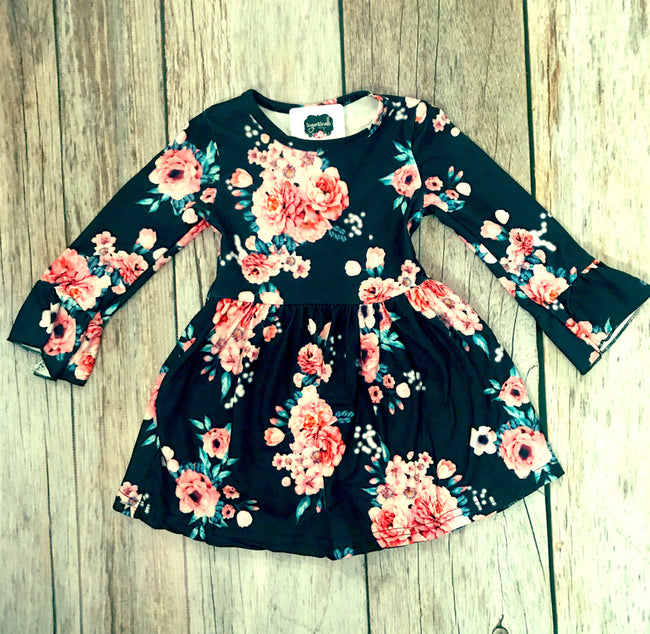 Girls Floral Bell Sleeve Dress