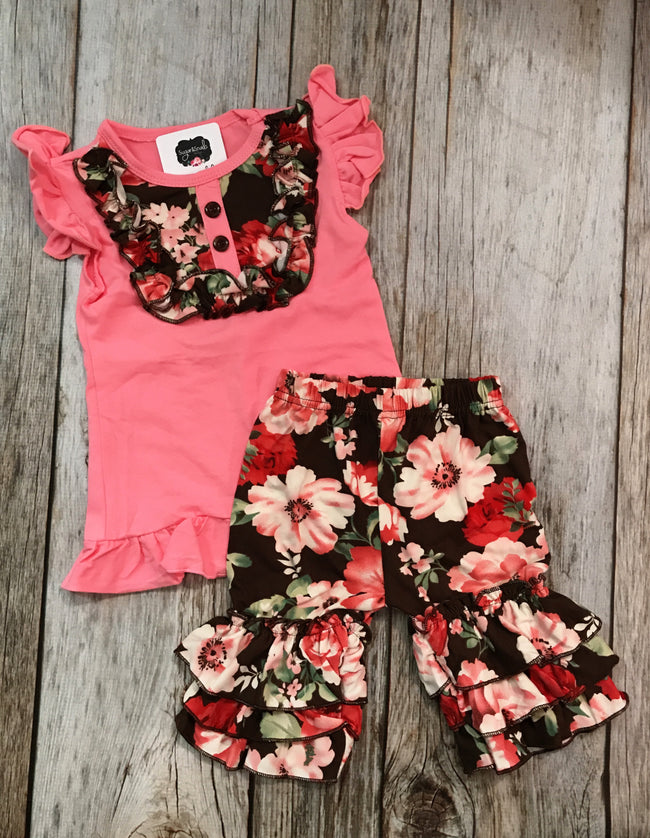 Girls Floral Spring Short Set