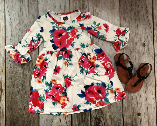 Bell Sleeve Floral Girls Dress