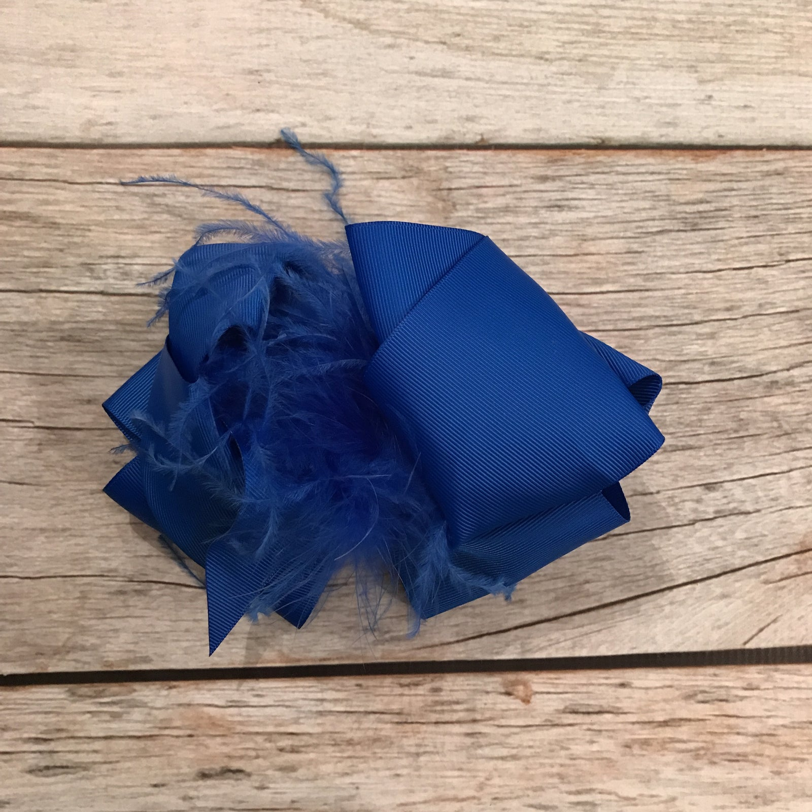 Royal Blue Feather Bow