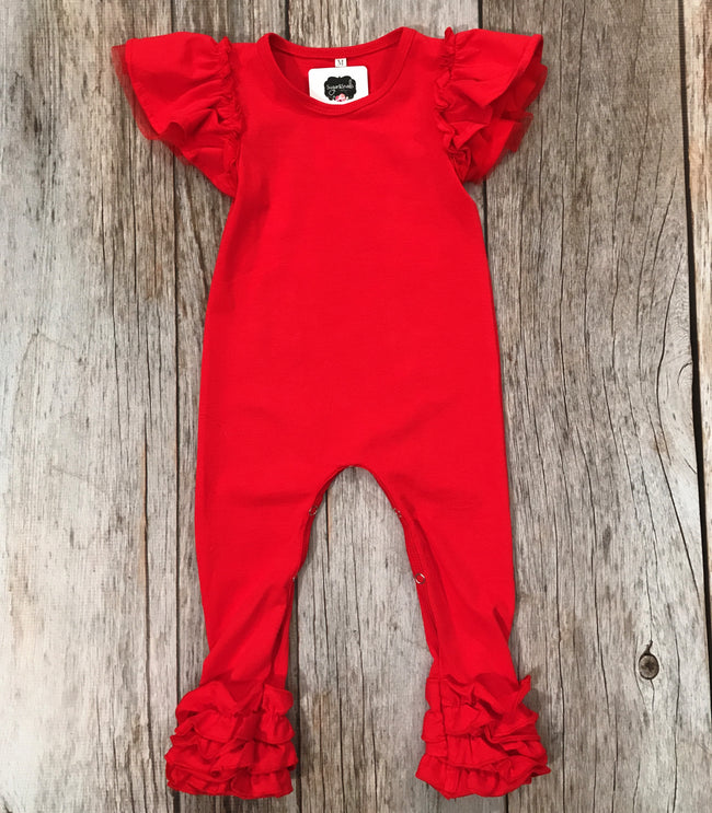 Baby Girl Red Ruffle Romper