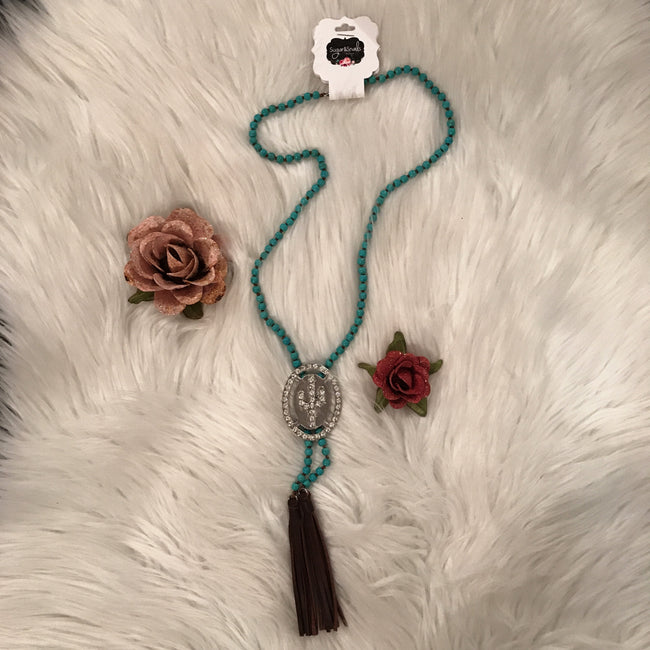 Turquoise & Crystal Cactus Necklace