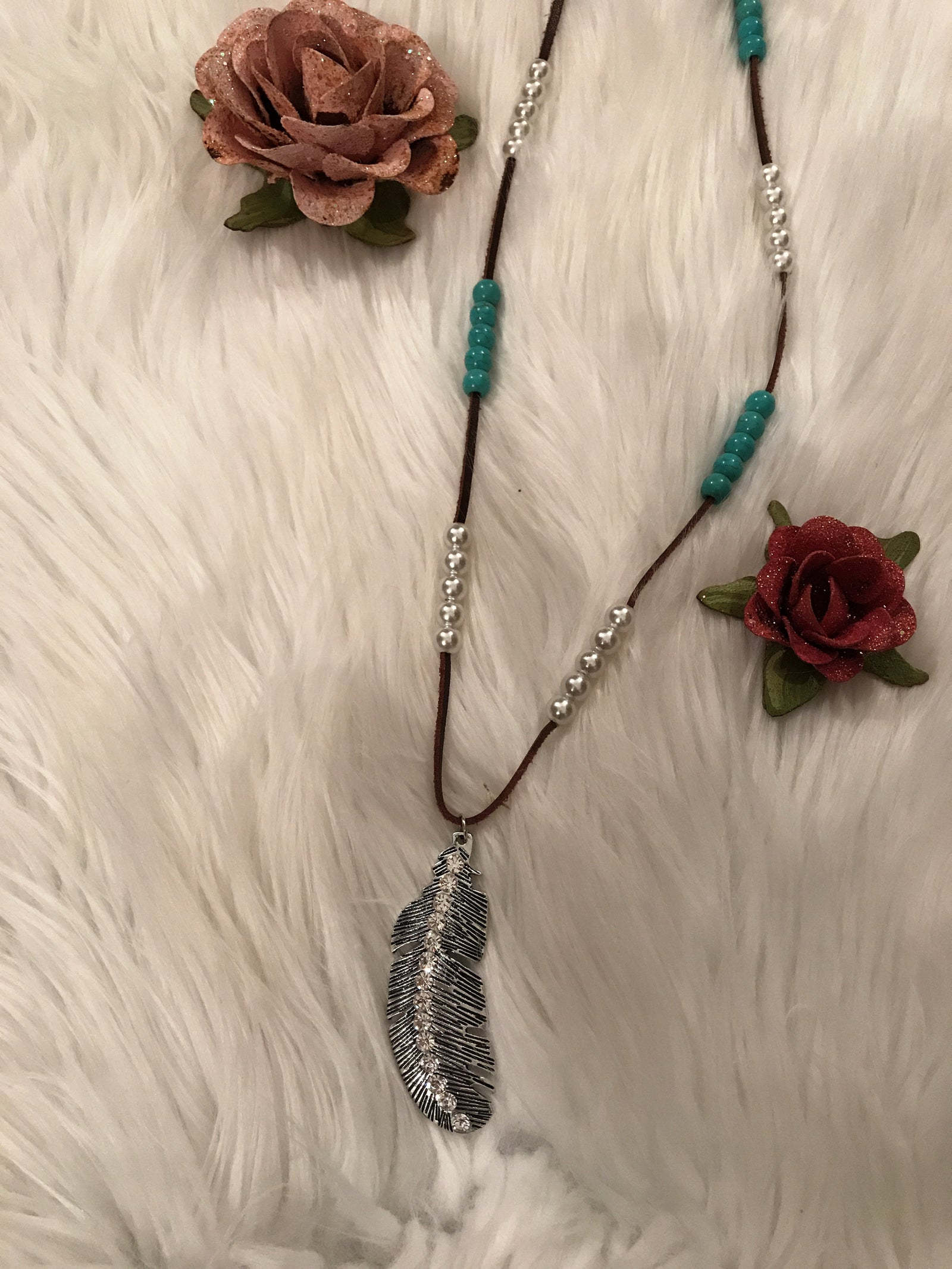 Turquoise&Pearl Feather Necklace