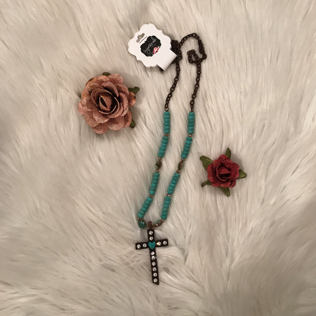 Turquoise Beaded Crystal Cross Necklace
