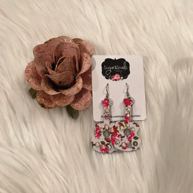 Floral Guitar Earrings