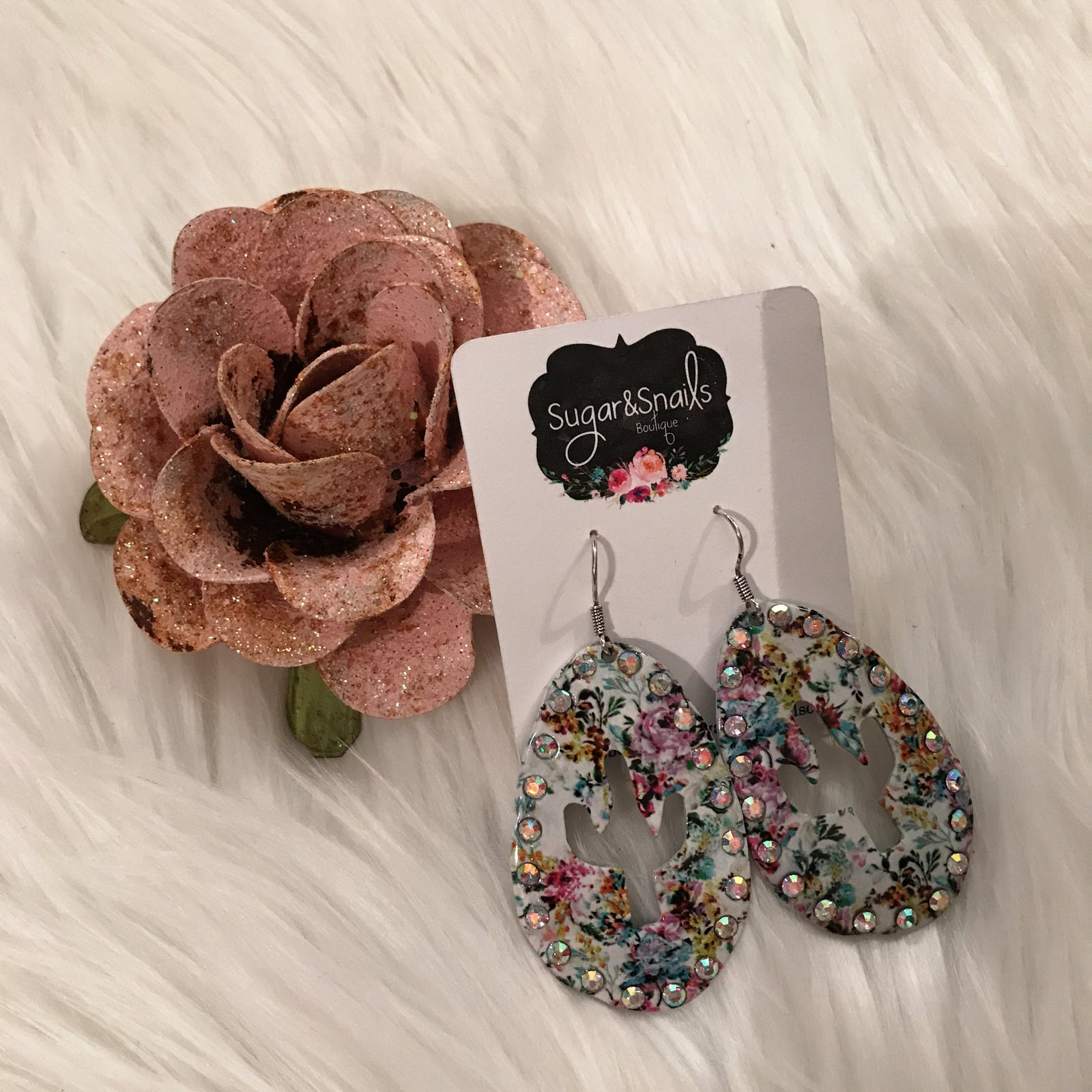 Floral Crystal Cactus Outline Earrings