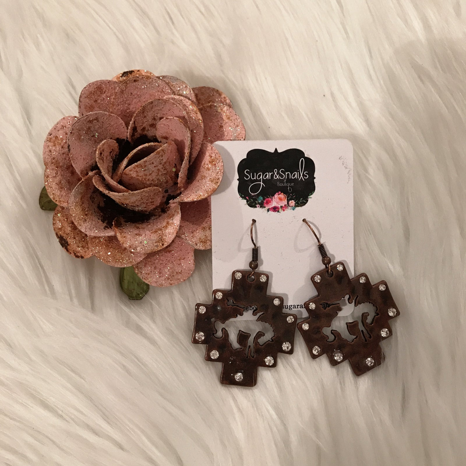Bronze Crystal Rodeo Earrings