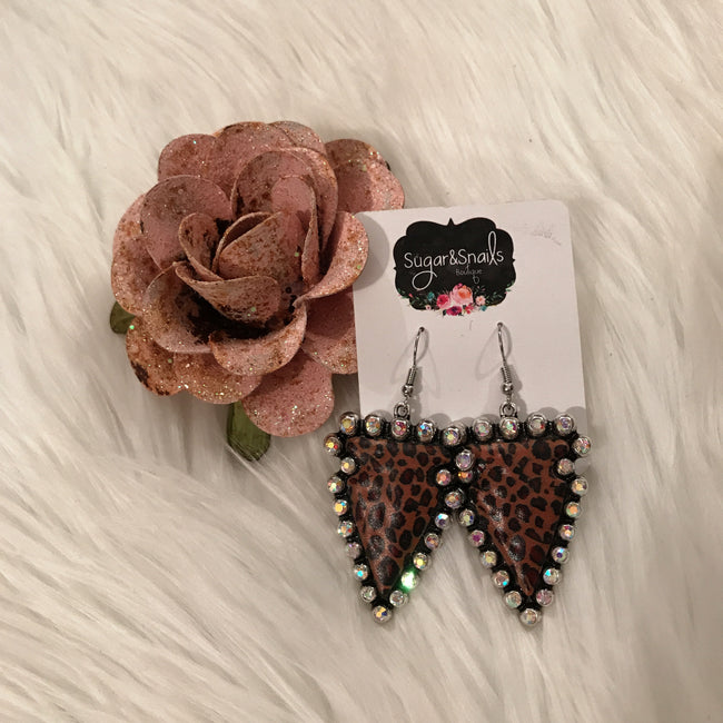 Leopard Crystal Arrow Earrings