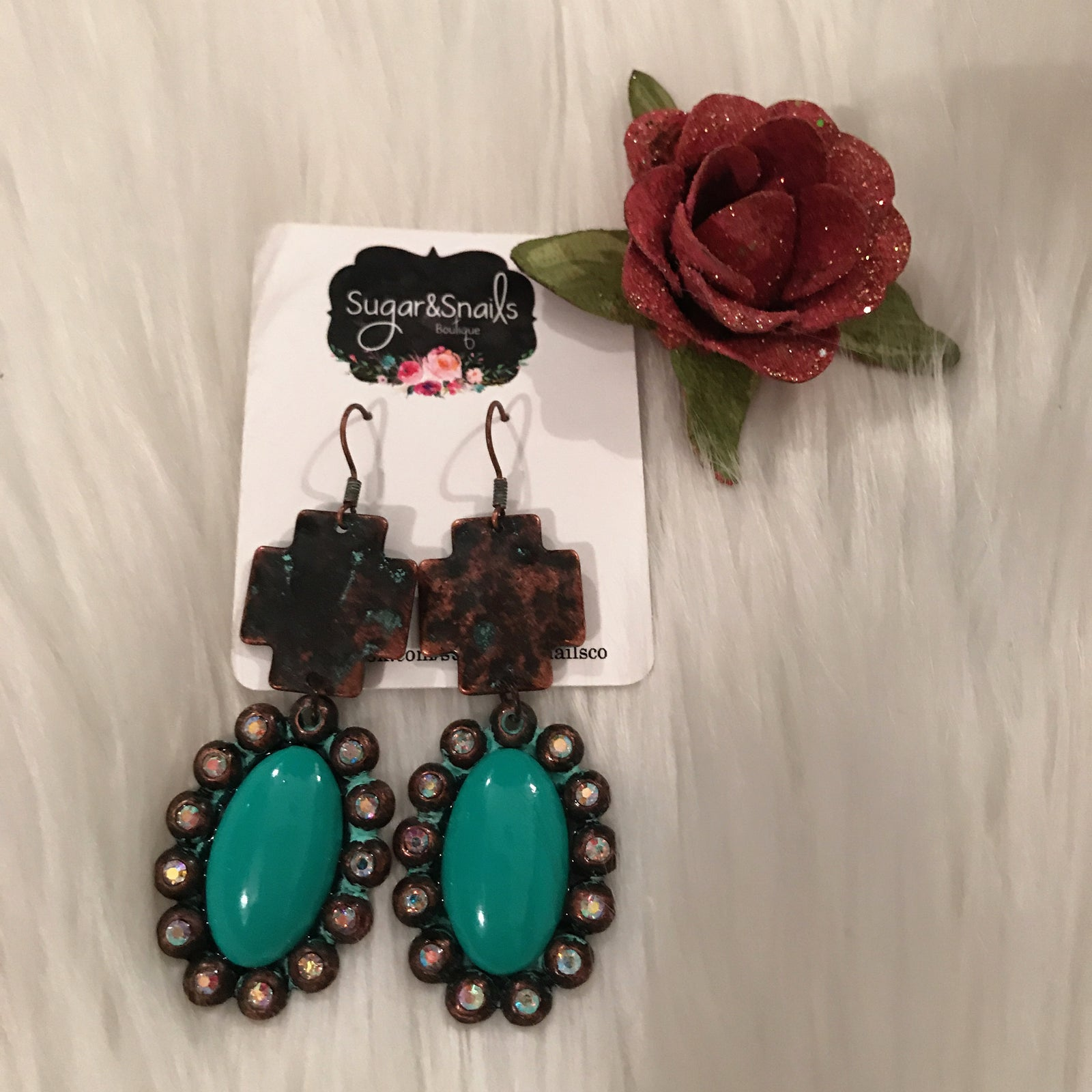 Turquoise Bronze Crystal Earrings