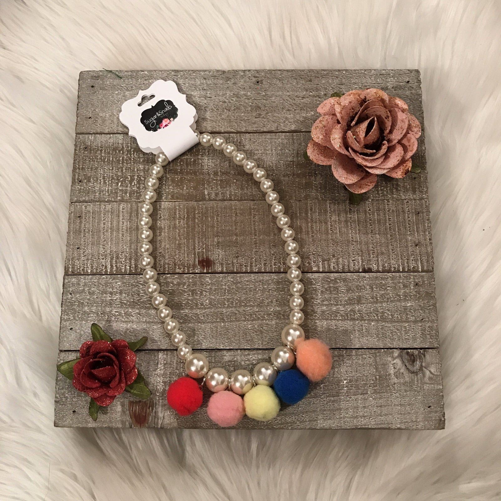 Girls Pearl Pom Necklace