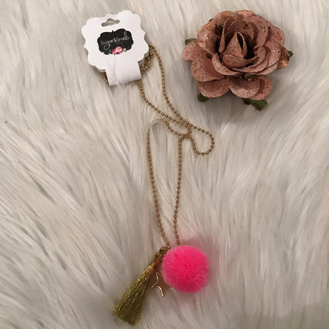 Girls Gold Tassel With Pink Pom