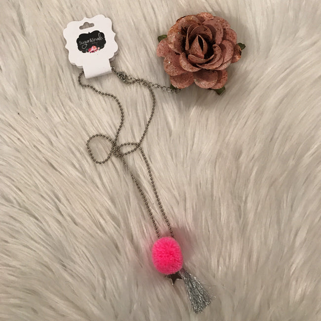 Girls Silver Tassel With Pink Pom Necklace
