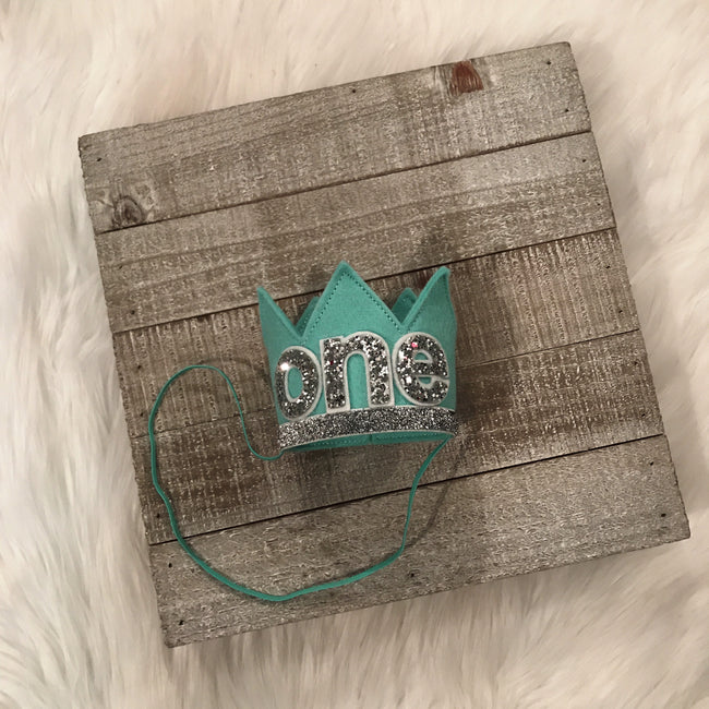 Birthday Crown Aqua/Silver ONE