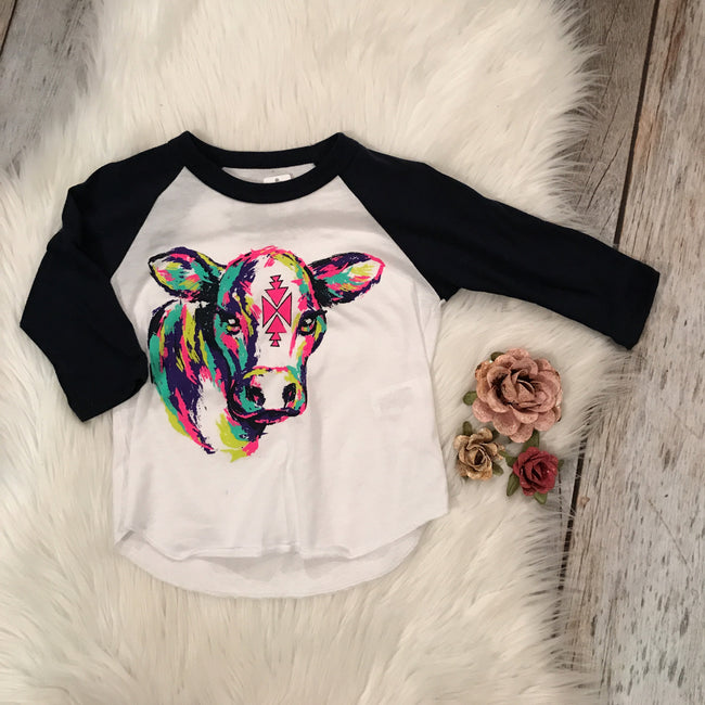 Navy Blue Sleeve Cow Raglan
