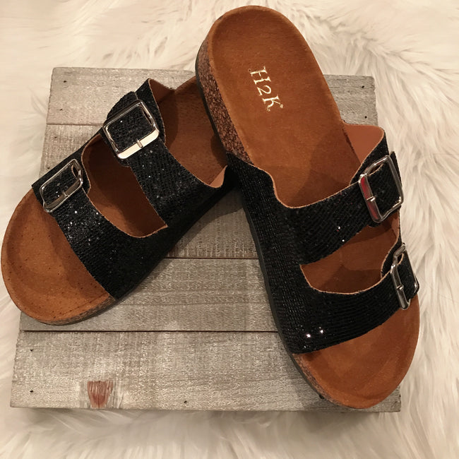 Womens Glitter Buckle Slide