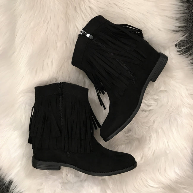 Womens Black Fringe Booties