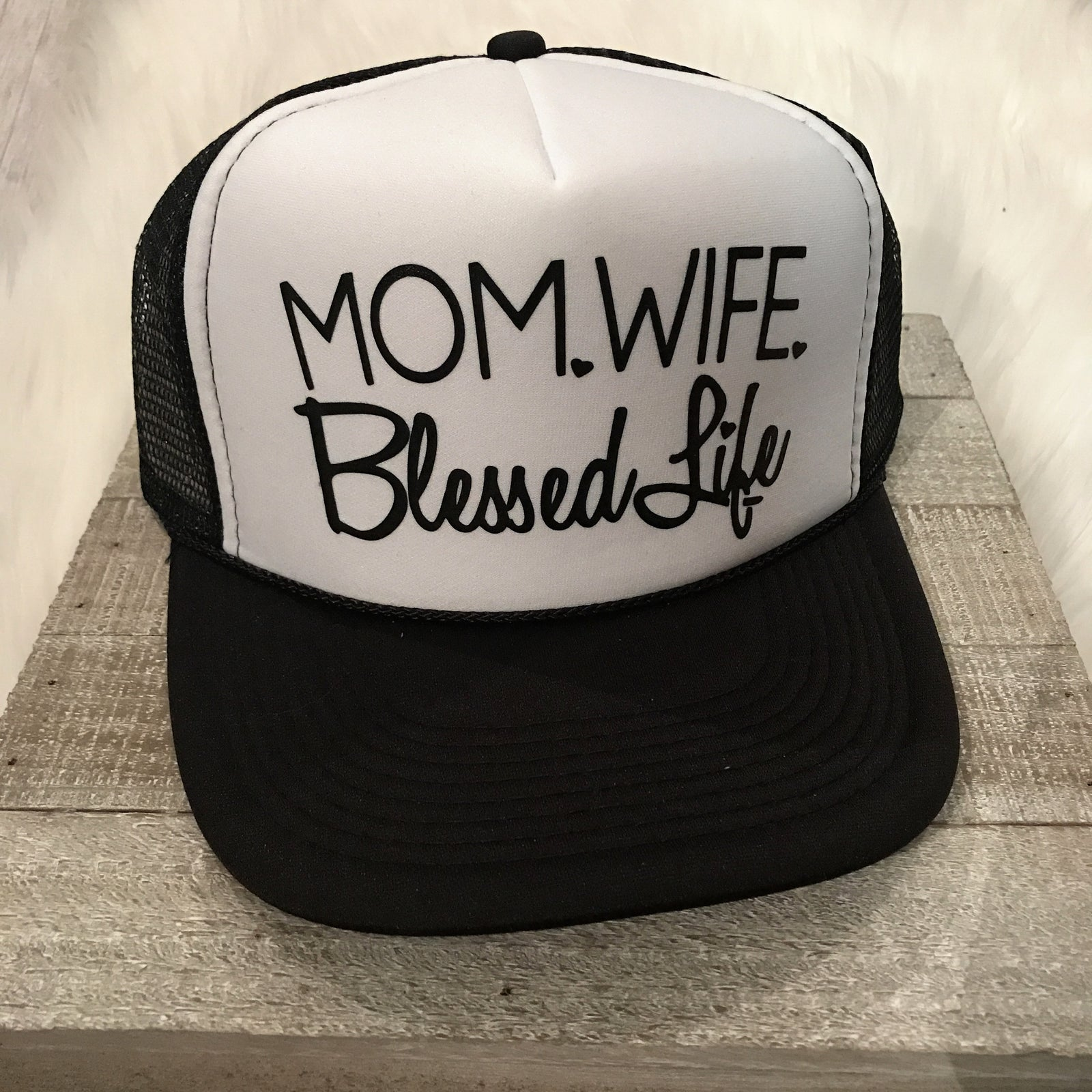 Womens Trucker Mom Wife Blessed