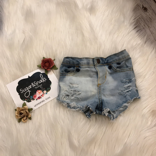 Baby Girl Distressed Shorty Shorts
