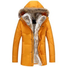 Hooded Mens Winter Down Jacket with Detachable Fur Collar