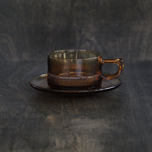 Showa Coffee Cup and Saucer (Amber)