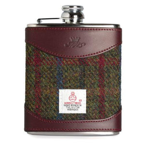 6oz Hip Flask Harris Tweed and Burgundy Leather