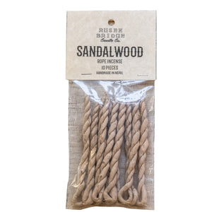 ROSEN BRIDGE Sandalwood Rope Incense (Pack of 10 incenses)