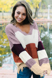 Abigail Colorblock Distressed Knit Sweater