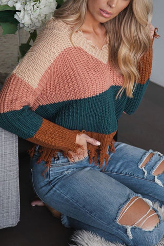 RAVEN COLORBLOCK DISTRESSED KNIT SWEATER