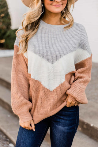 Fall Daydream Brick Chevron Colorblock Sweater