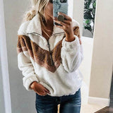 Half Zip Faux Fur Sweatshirt