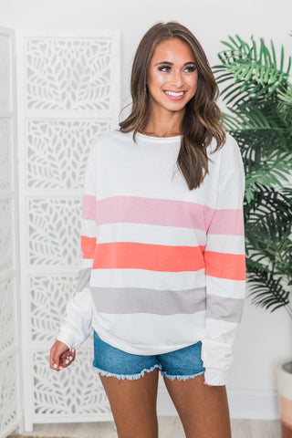 Be Mine Multicolor Striped Pullover