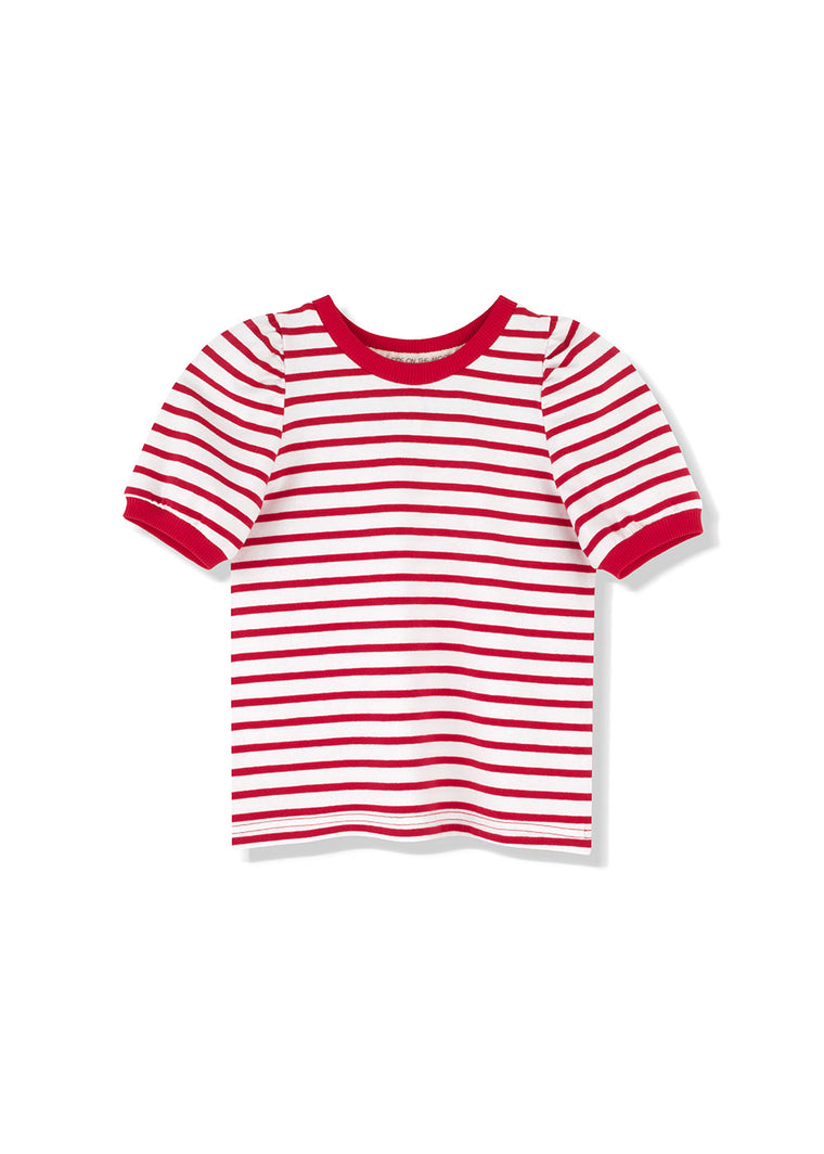 Red Stripes Puff Top