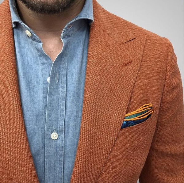 Bold Yet Subtle Spring/Summer Style-  The Orange Hopsack Custom Jacket