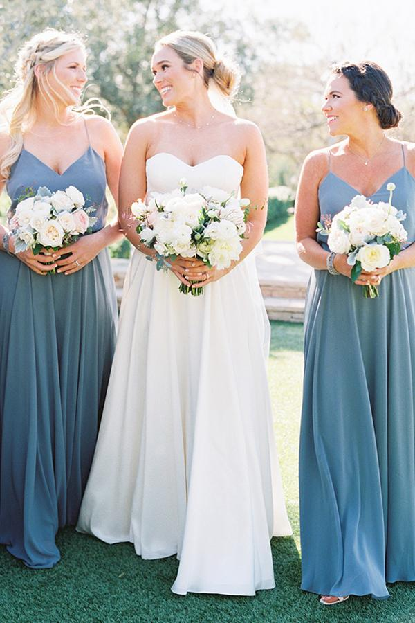 Simple A-Line Spaghetti Straps Bridesmaid Dresses