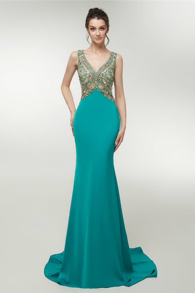 Sexy Mermaid Backless V-Neck Prom Dress with Crystal