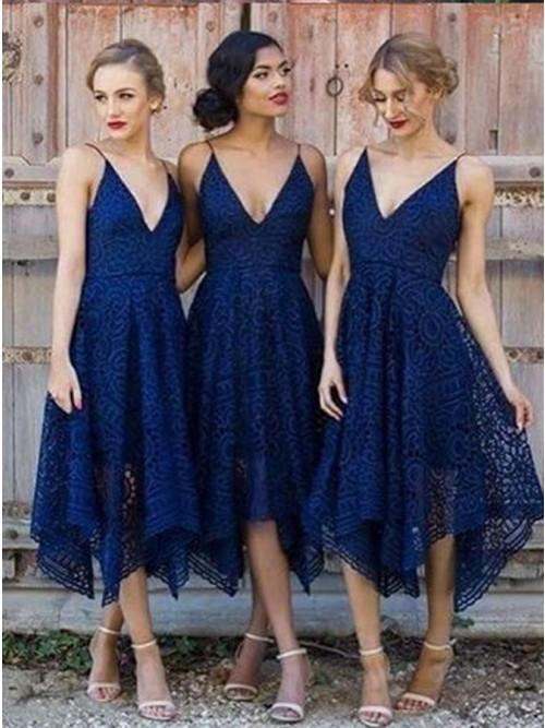 Spaghetti Straps Asymmetrical Deep V-Neck Dark Navy Lace Bridesmaid Dresses