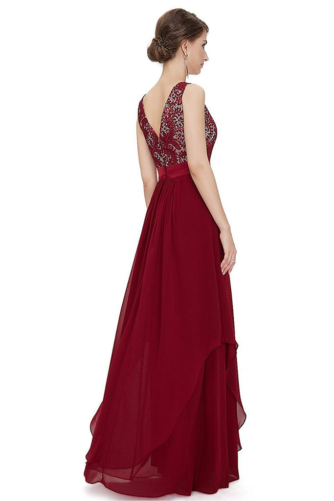 Red A-line Floor-length Sleeveless Evening Gown 2019